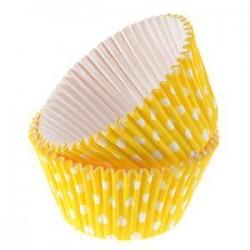 Confezione 12 pirottini rigidi giallo a pois Decora
