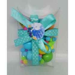 Scatolina pvc rettangolare + confetti colorati