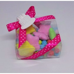 Scatolina pvc quadrata + confetti colorati