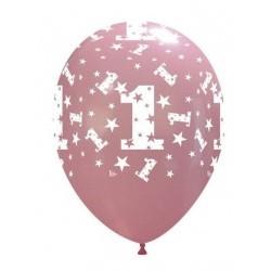 """Palloni ad Elio 12"""" 1 Compleanno Rosa"""