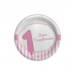 Piatto 1°Compleanno rosa