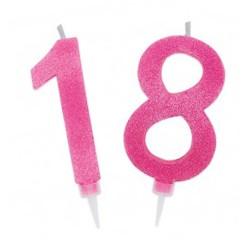 Candelina 18 anni rosa glitter